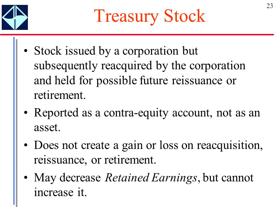 Treasury Stock Stock issued by a corporation but subsequently reacquired by the corporation and held for possible future reissuance or retirement.