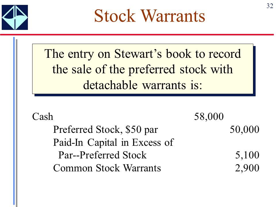 Stock Warrants The entry on Stewart's book to record the sale of the preferred stock with detachable warrants is:
