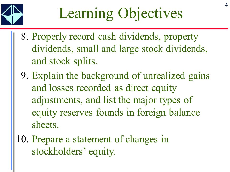 Learning Objectives 8. Properly record cash dividends, property dividends, small and large stock dividends, and stock splits.