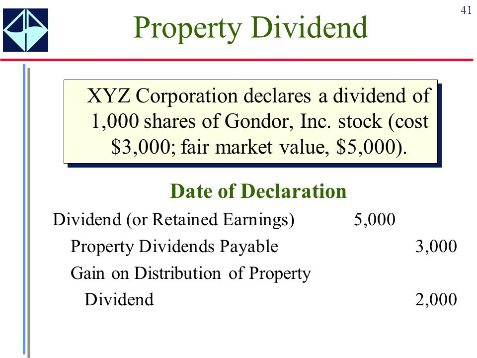 Property Dividend XYZ Corporation declares a dividend of 1,000 shares of Gondor, Inc. stock (cost $3,000; fair market value, $5,000).