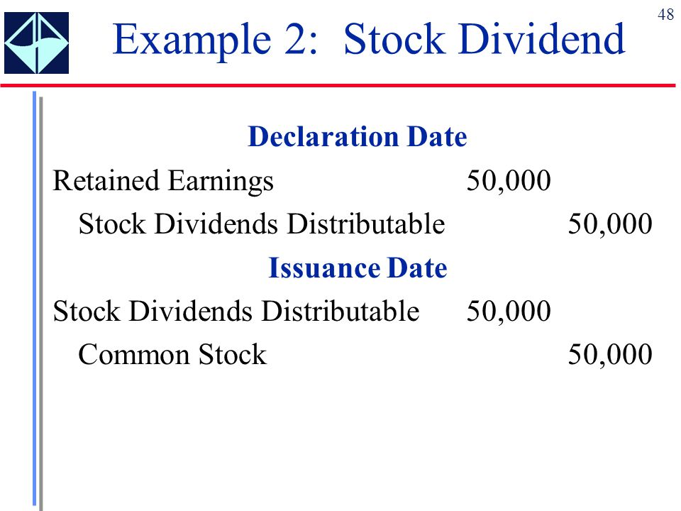Example 2: Stock Dividend