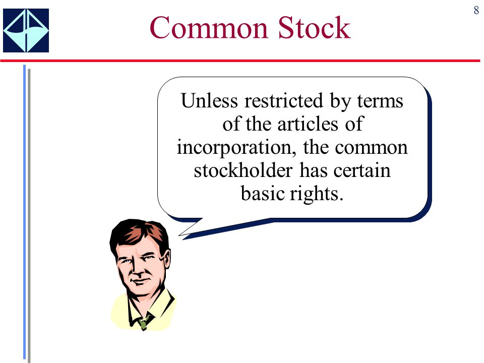 Common Stock Unless restricted by terms of the articles of incorporation, the common stockholder has certain basic rights.