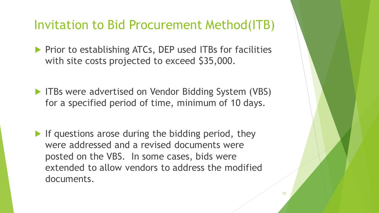 Invitation to Bid Procurement Method(ITB)