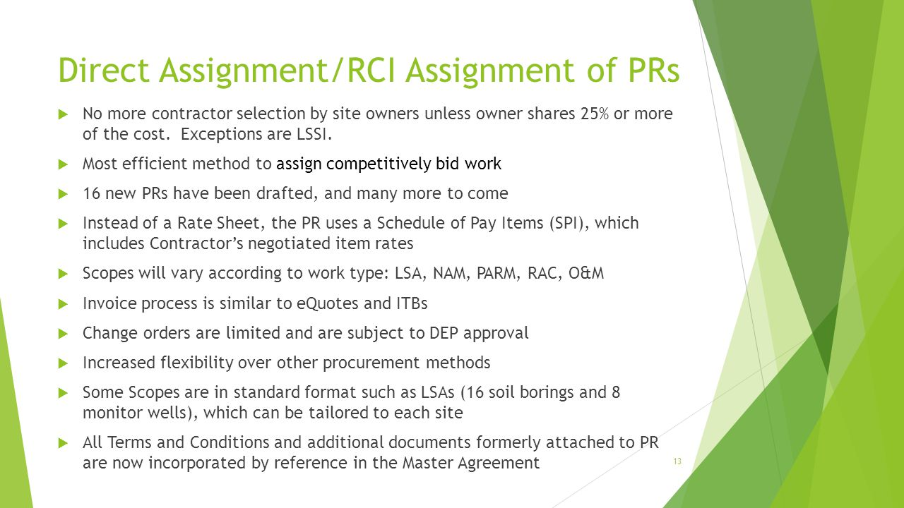 Direct Assignment/RCI Assignment of PRs