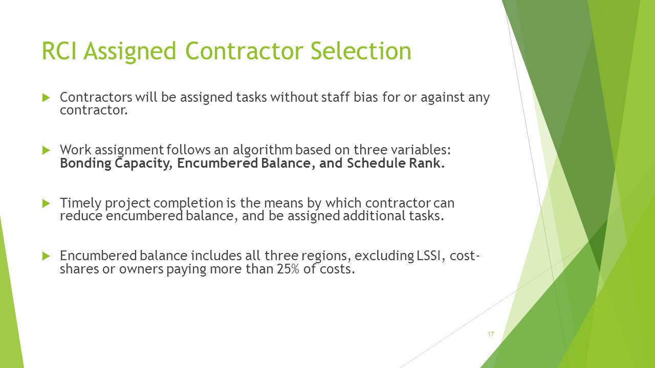 RCI Assigned Contractor Selection