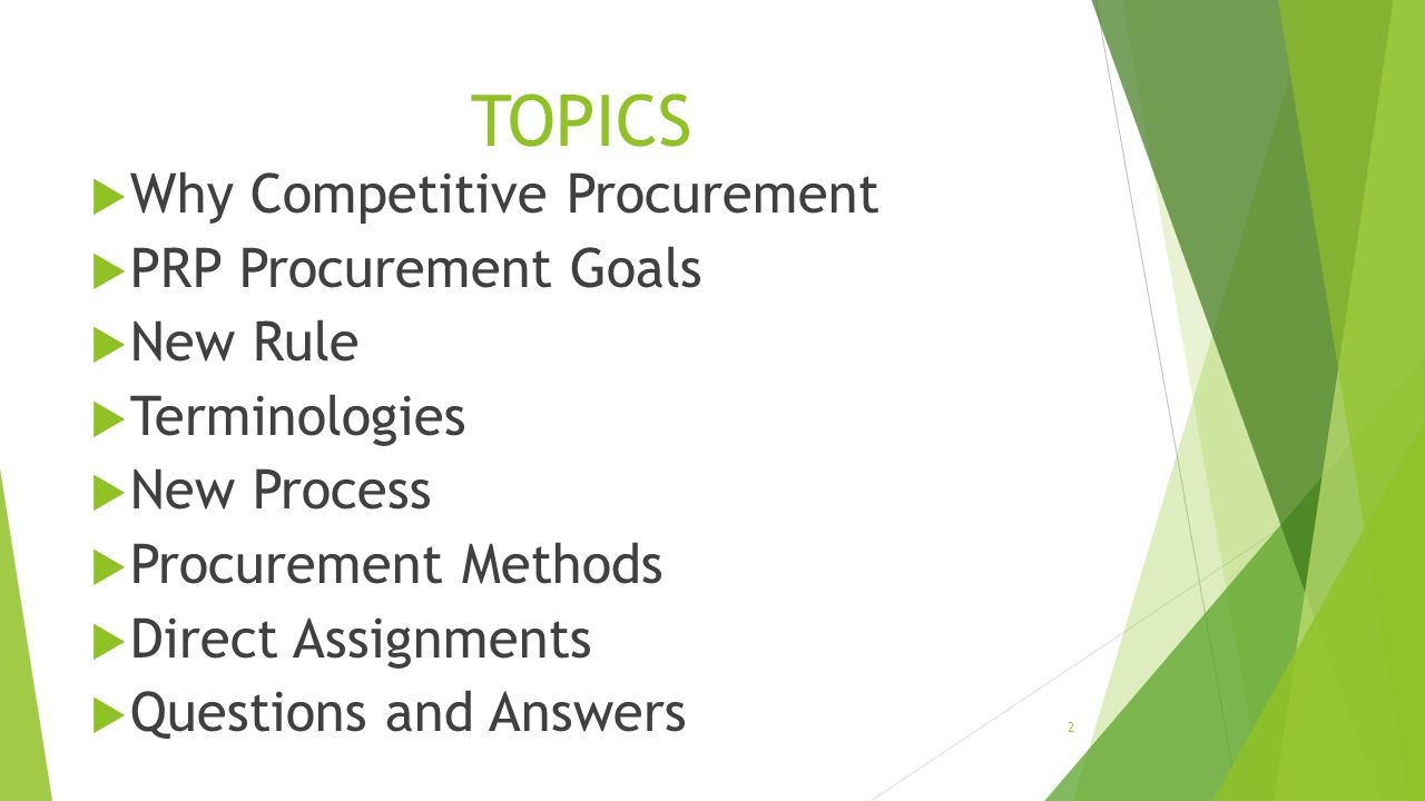 TOPICS Why Competitive Procurement PRP Procurement Goals New Rule