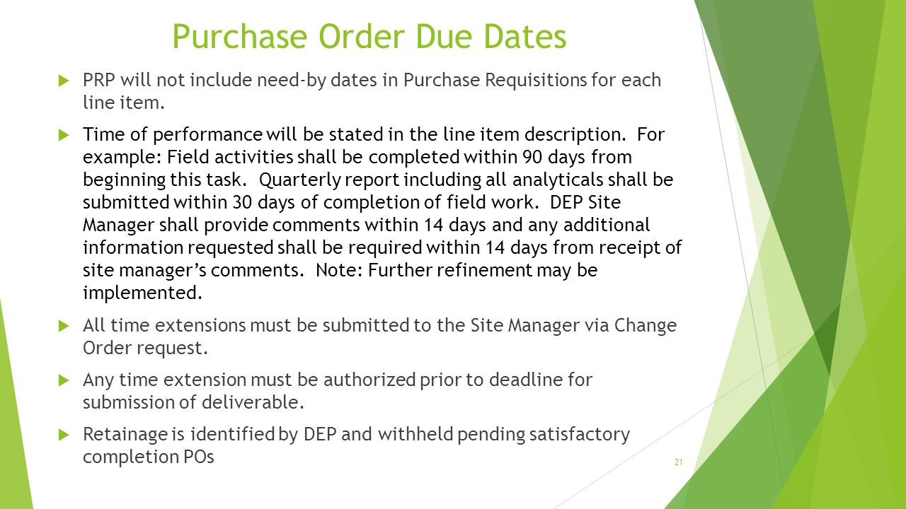 Purchase Order Due Dates