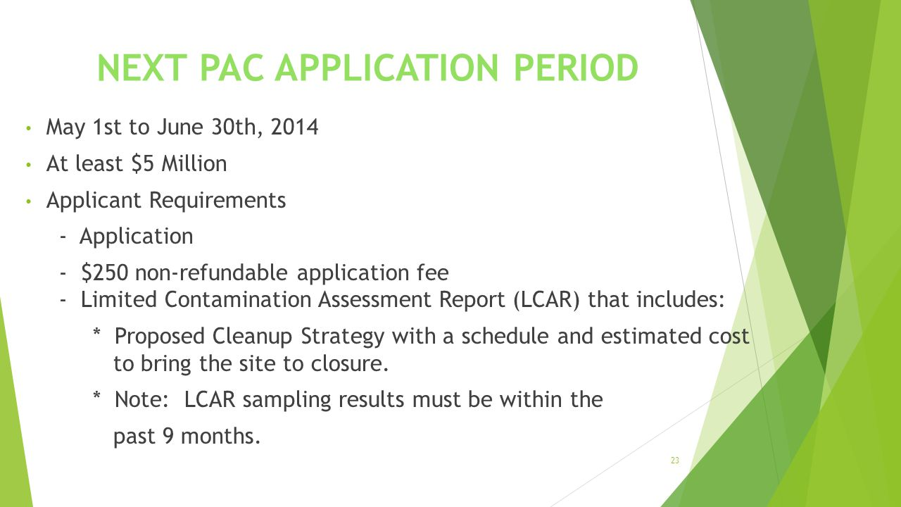 NEXT PAC APPLICATION PERIOD