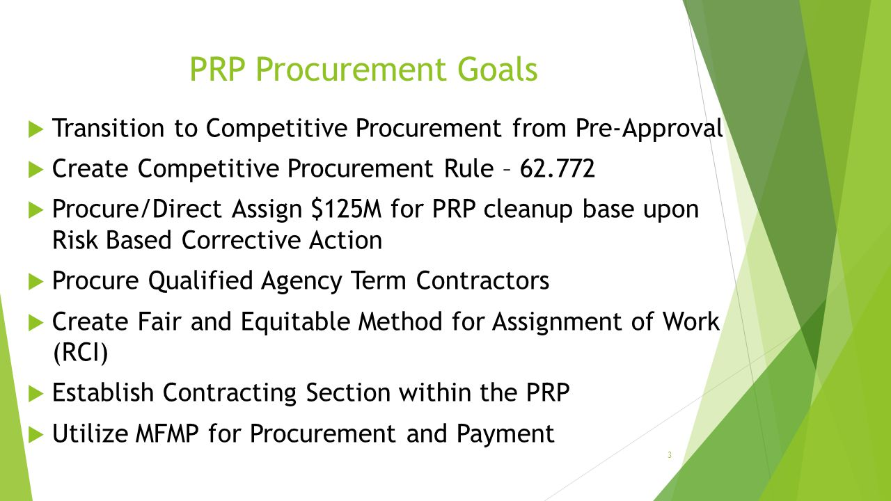 PRP Procurement Goals Transition to Competitive Procurement from Pre-Approval. Create Competitive Procurement Rule – 62.772.
