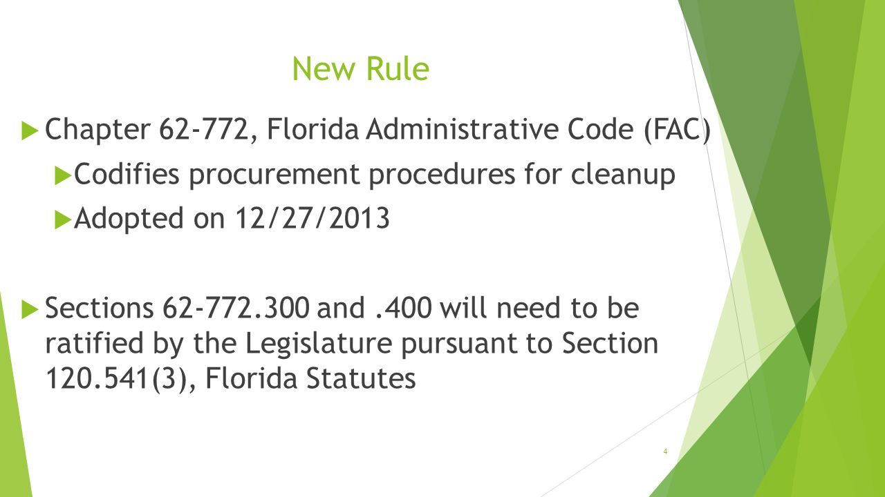 New Rule Chapter 62-772, Florida Administrative Code (FAC)