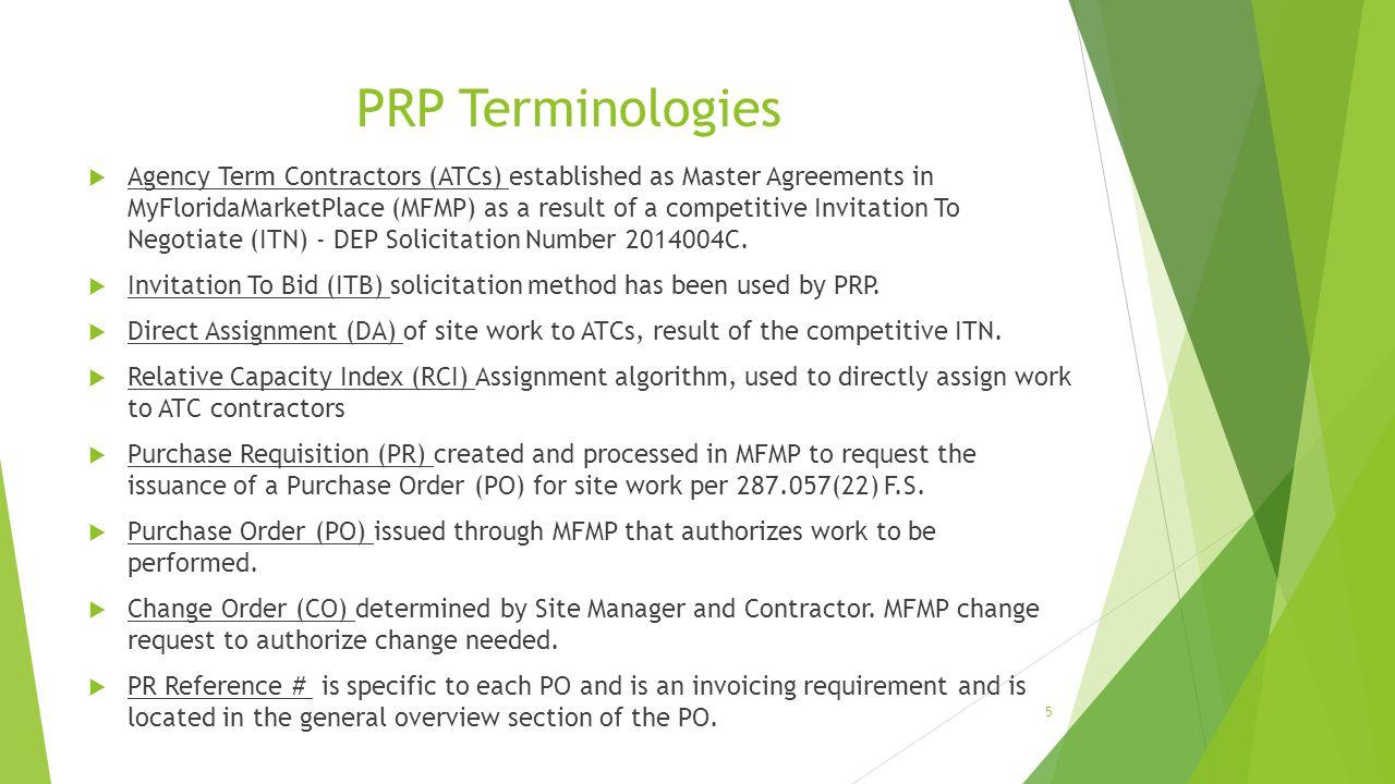 PRP Terminologies