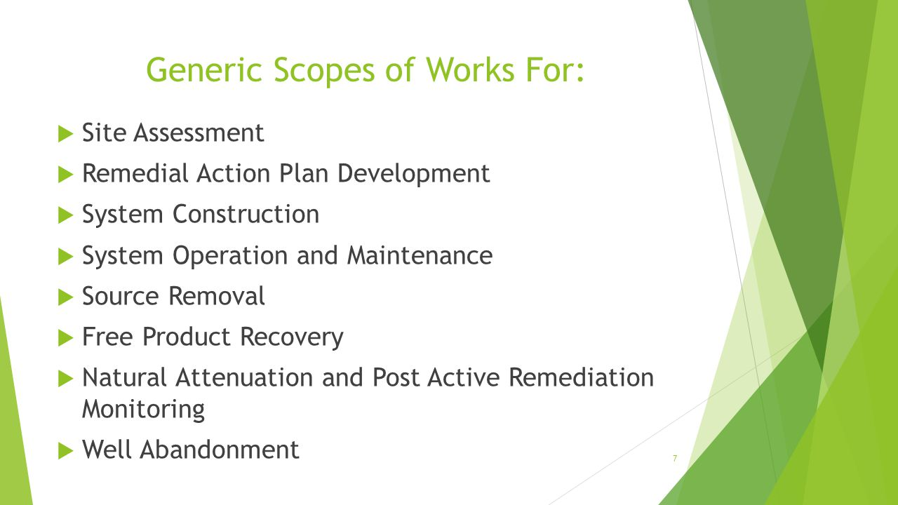 Generic Scopes of Works For: