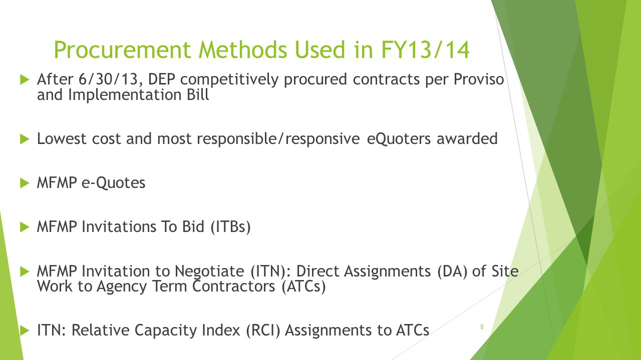 Procurement Methods Used in FY13/14
