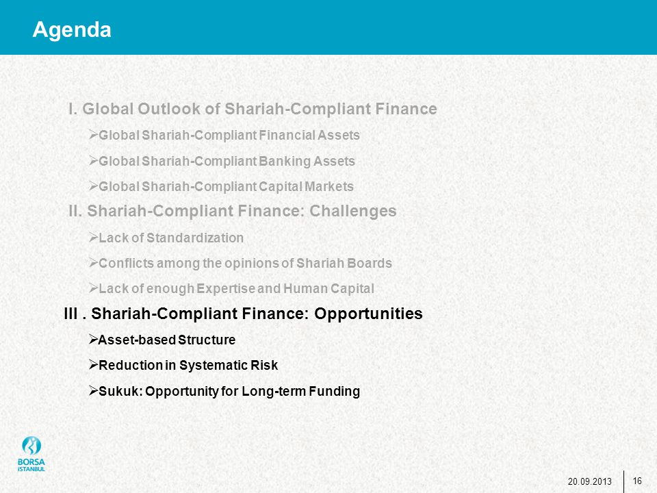 Agenda I. Global Outlook of Shariah-Compliant Finance