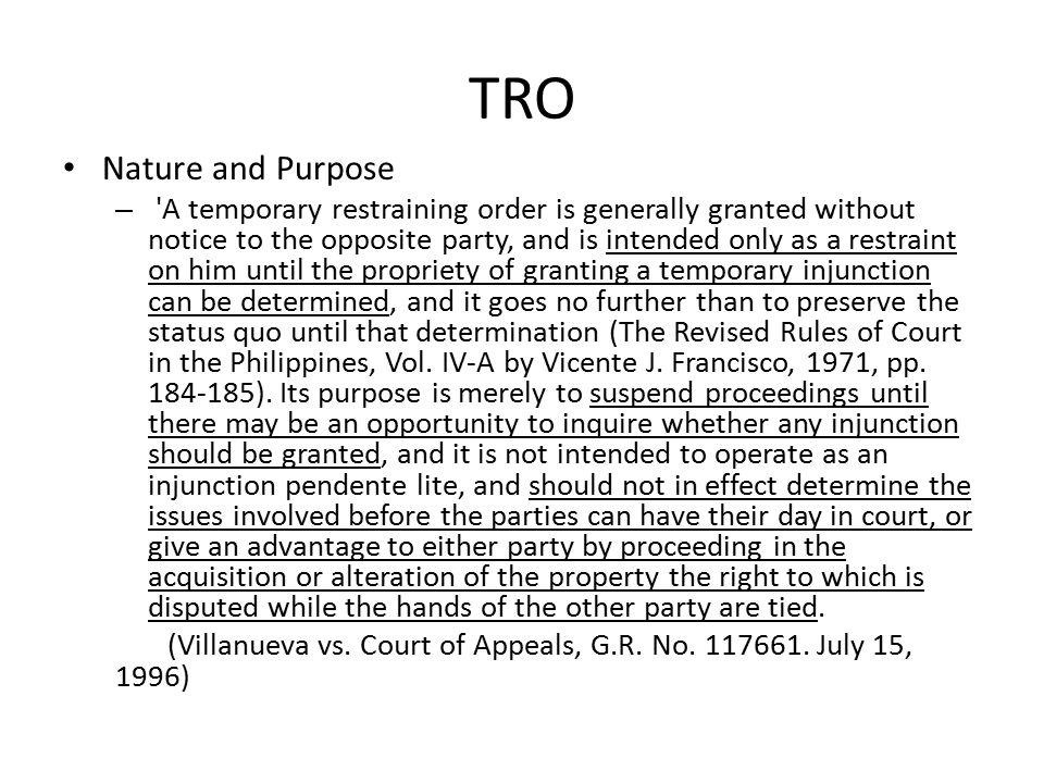 TRO Nature and Purpose.