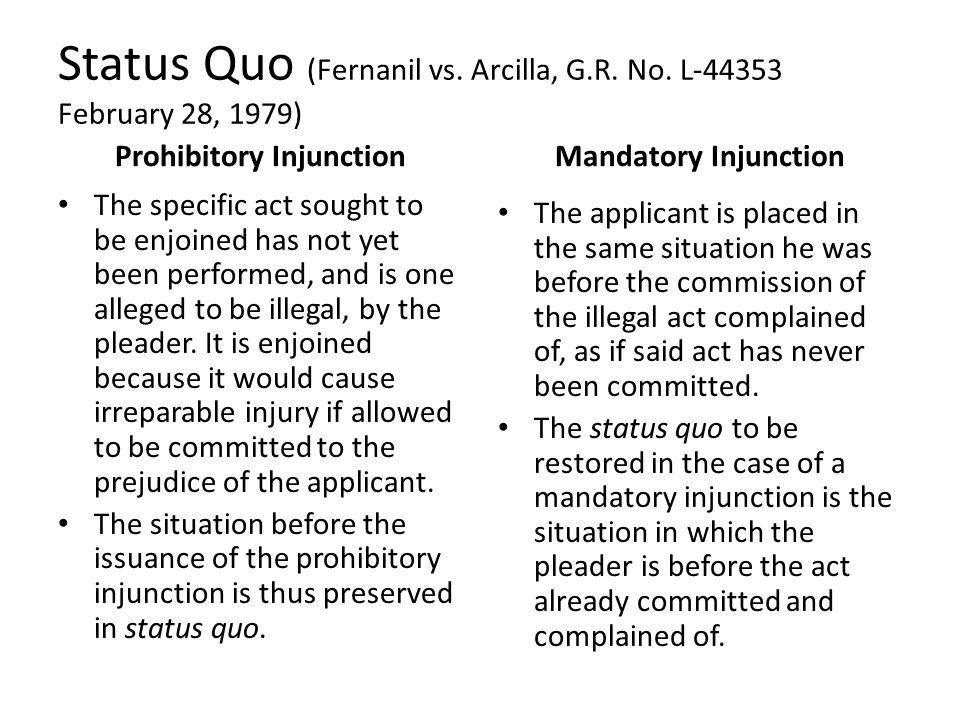 Status Quo (Fernanil vs. Arcilla, G.R. No. L-44353 February 28, 1979)