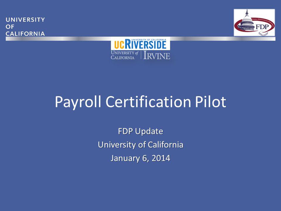 Payroll Certification Pilot