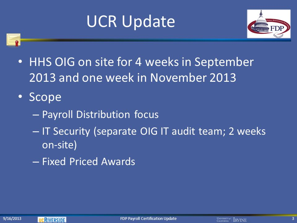 FDP Payroll Certification Update