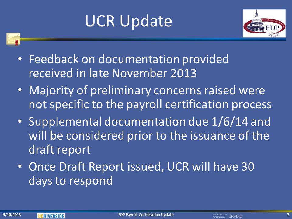 FDP Payroll Certification Update