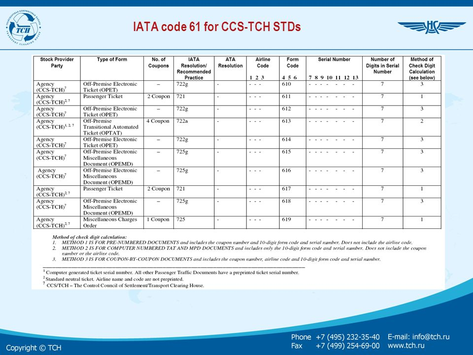 IATA code 61 for CCS-TCH STDs