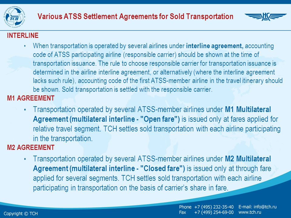 Various ATSS Settlement Agreements for Sold Transportation