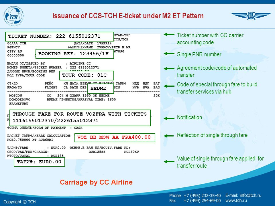 Issuance of CCS-TCH E-ticket under М2 ET Pattern