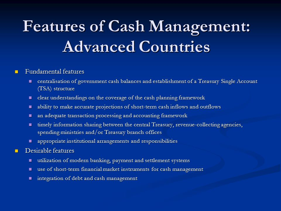 Features of Cash Management: Advanced Countries