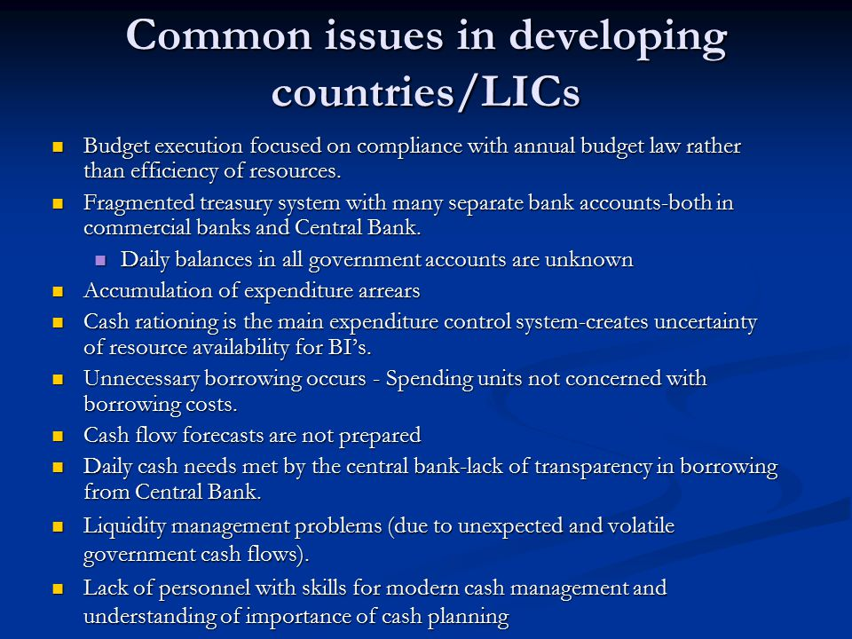 Common issues in developing countries/LICs