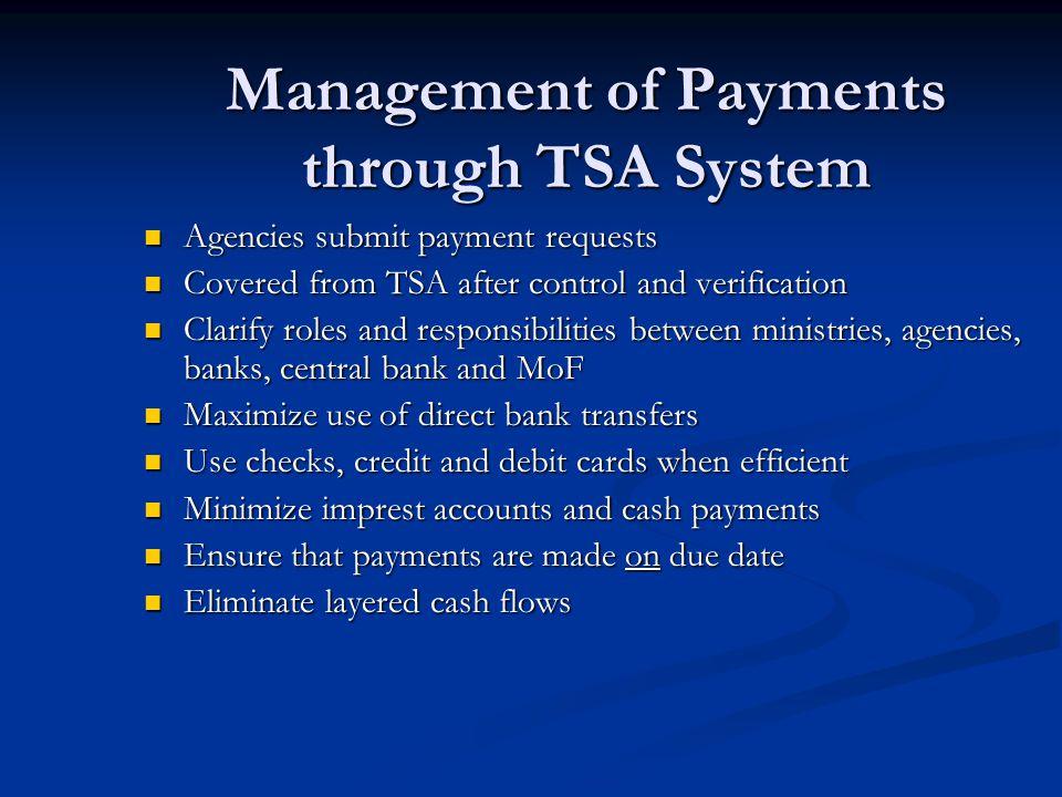 Management of Payments through TSA System
