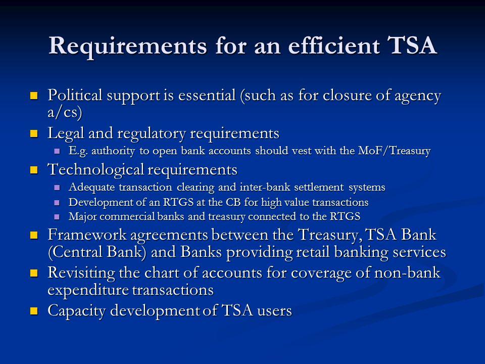 Requirements for an efficient TSA
