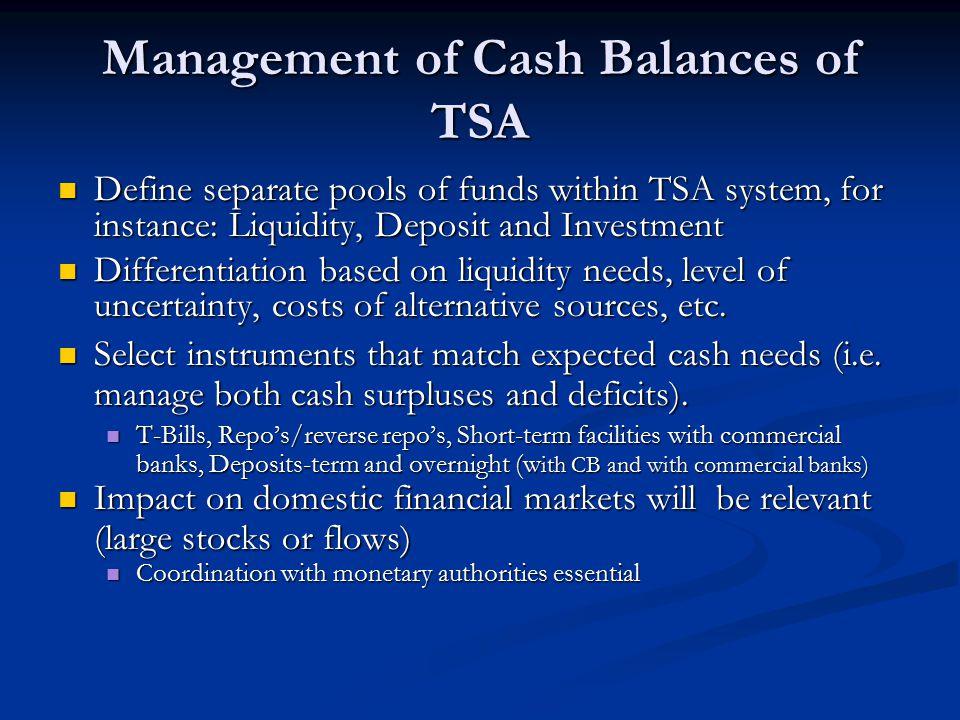 Management of Cash Balances of TSA