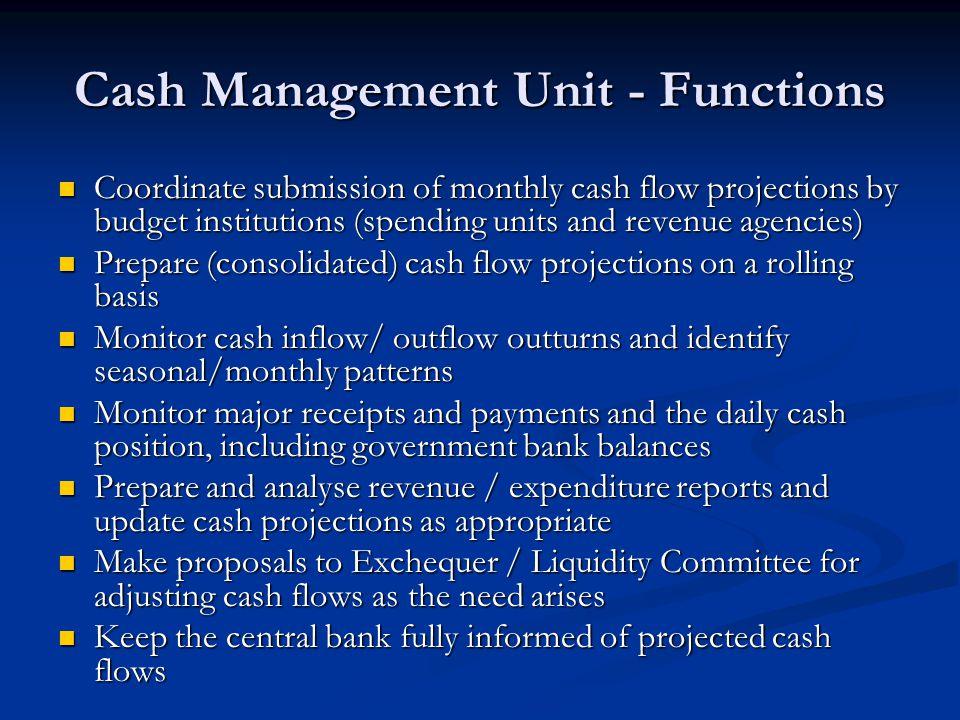 Cash Management Unit - Functions