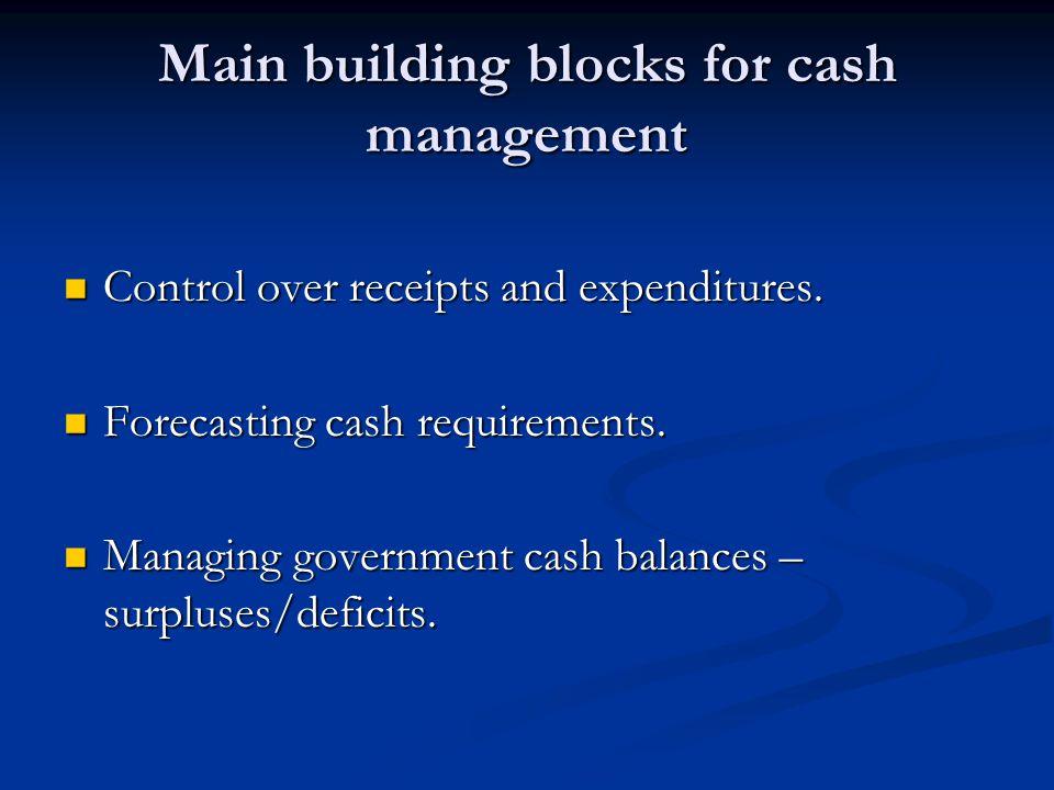 Main building blocks for cash management