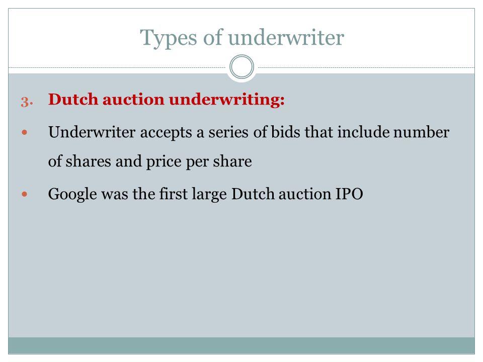 Types of underwriter Dutch auction underwriting: