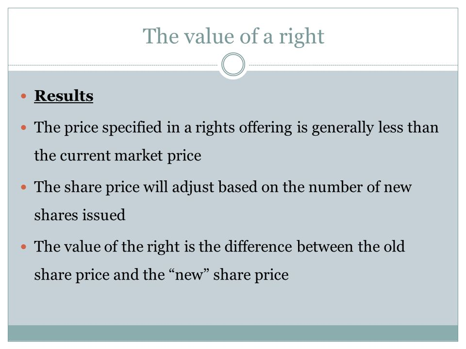 The value of a right Results
