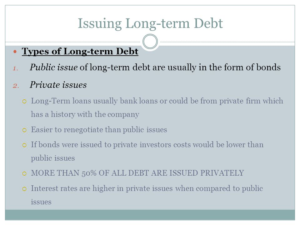 Issuing Long-term Debt