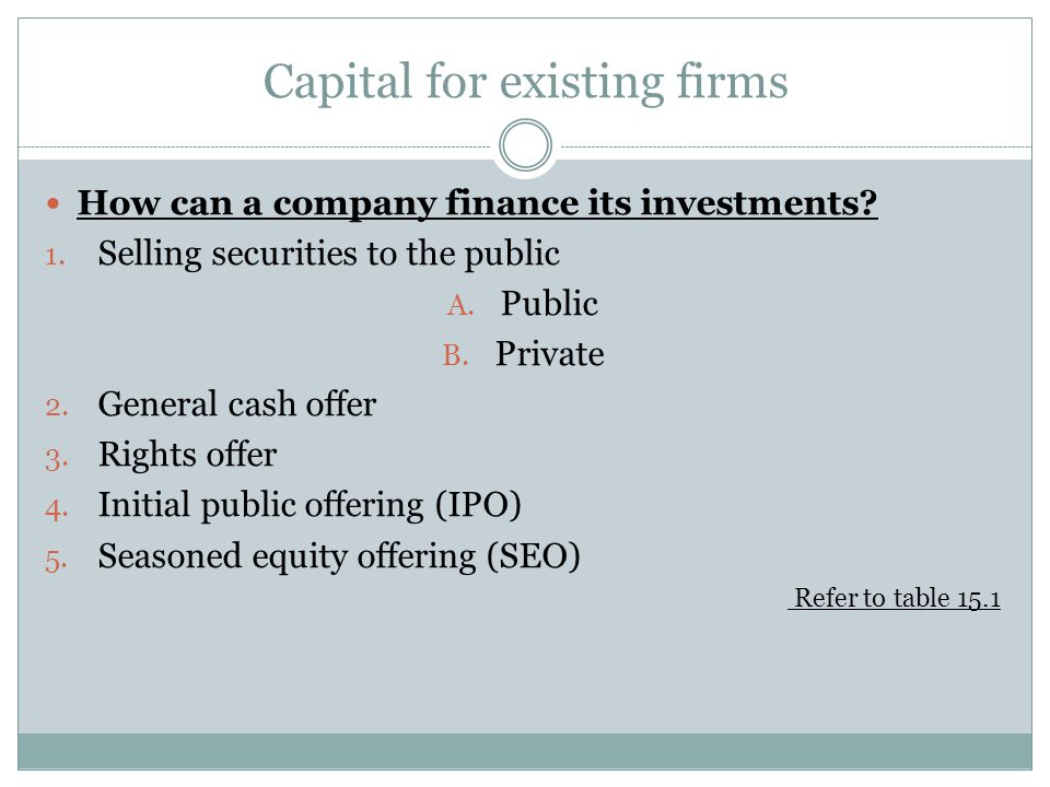 Capital for existing firms