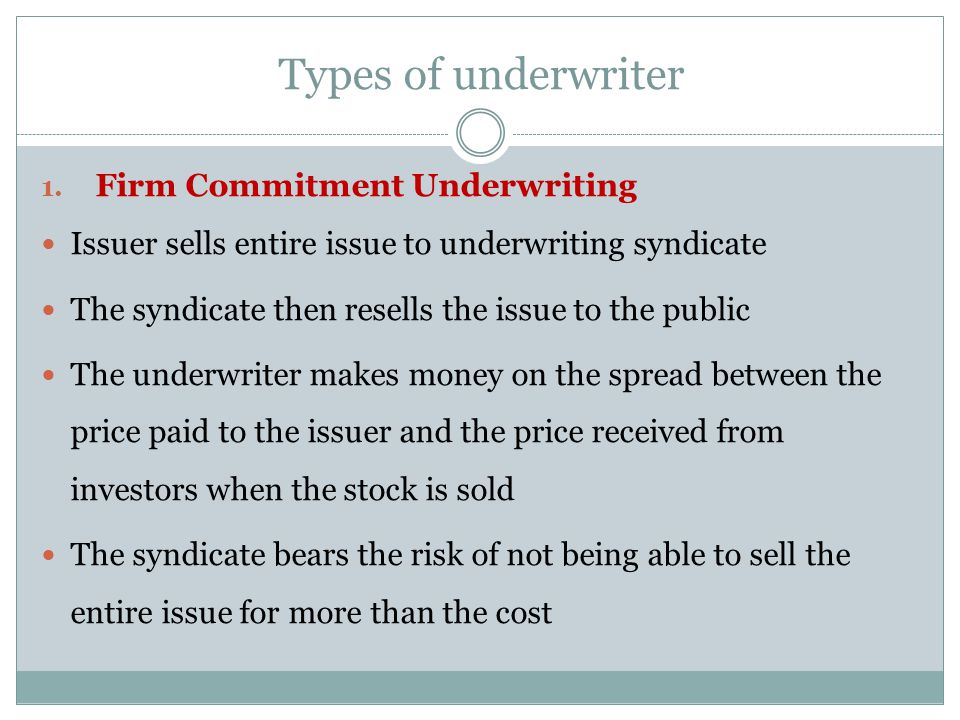 Types of underwriter Firm Commitment Underwriting