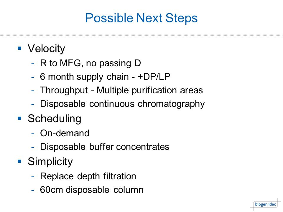 Possible Next Steps Velocity Scheduling Simplicity