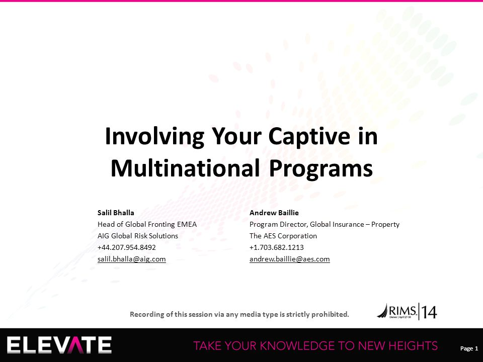 Involving Your Captive in Multinational Programs
