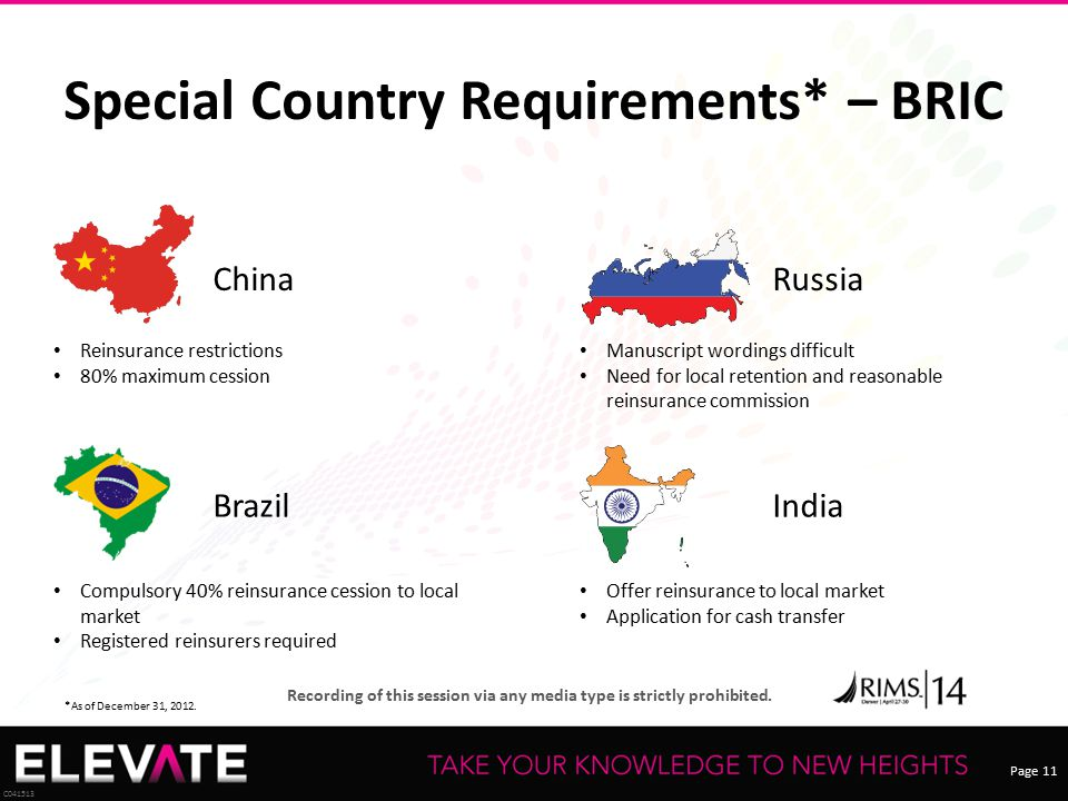 Special Country Requirements* – BRIC