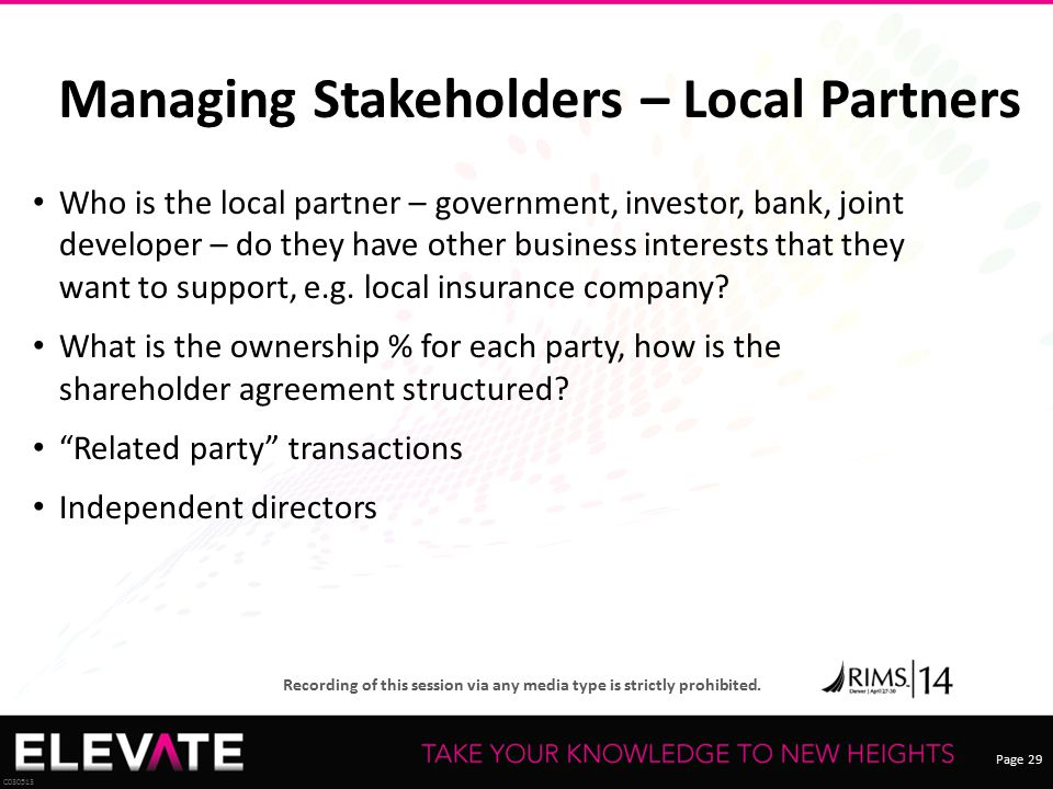 Managing Stakeholders – Local Partners