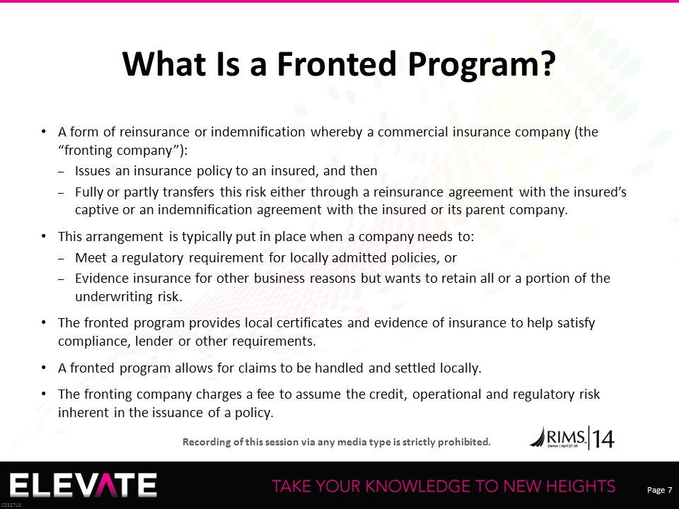 What Is a Fronted Program