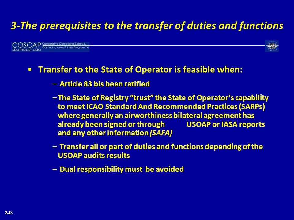 3-The prerequisites to the transfer of duties and functions