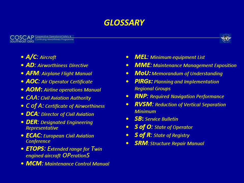 GLOSSARY MEL: Minimum equipment List