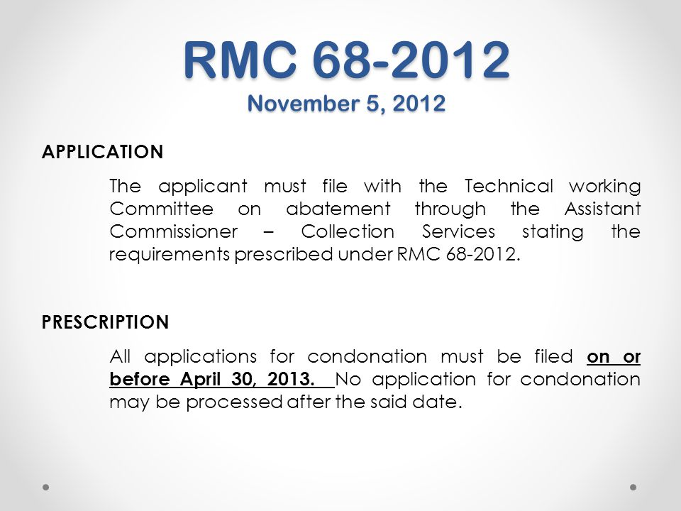 RMC 68-2012 November 5, 2012 APPLICATION