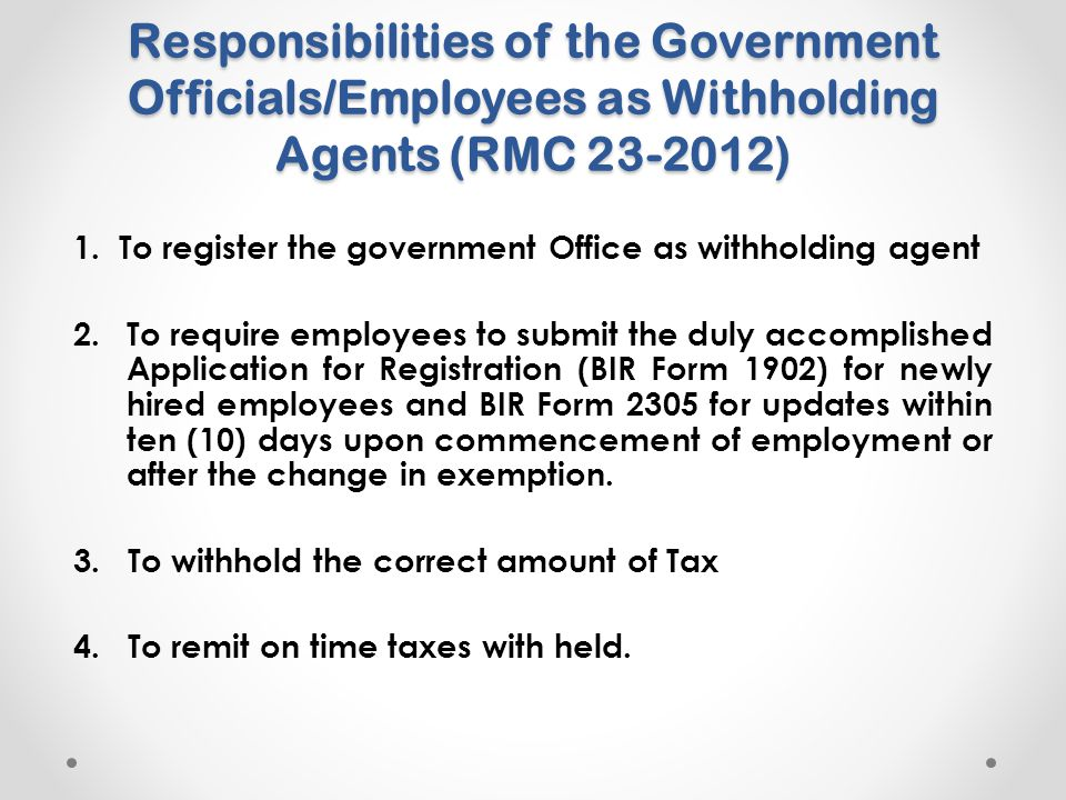 Responsibilities of the Government Officials/Employees as Withholding Agents (RMC 23-2012)