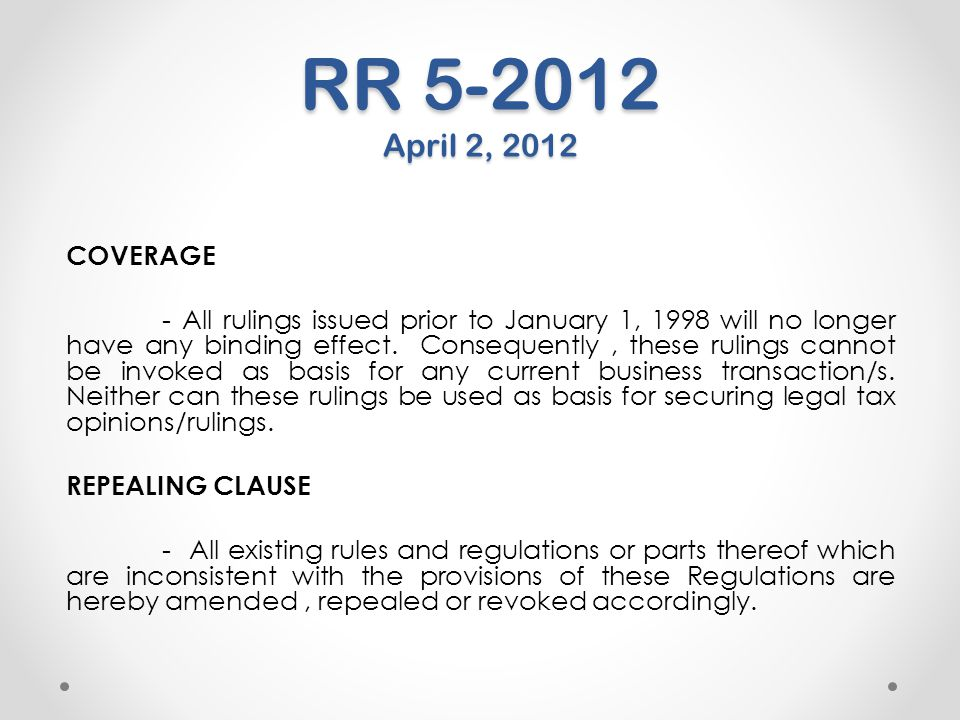 RR 5-2012 April 2, 2012