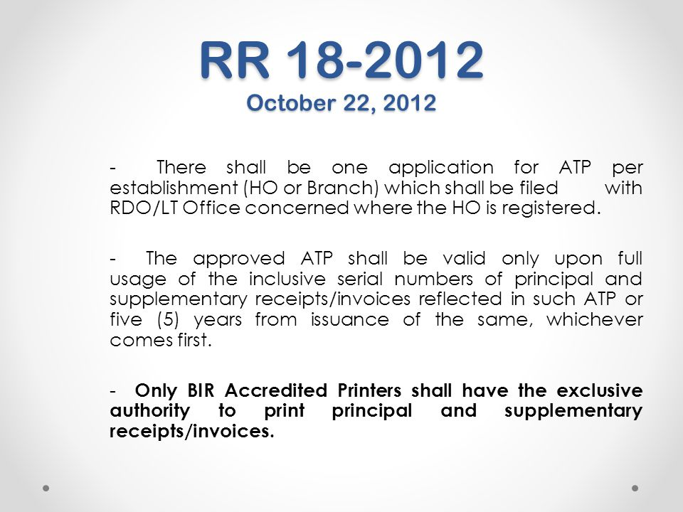 RR 18-2012 October 22, 2012