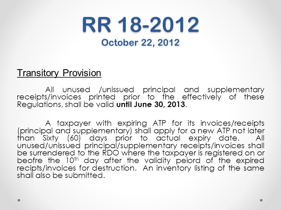 RR 18-2012 October 22, 2012 Transitory Provision